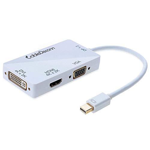 CableDeconn Mini Displayport (Thunderbolt Compatible) a HDMI/DVI/VGA Macho a Hembra 3-en 1...