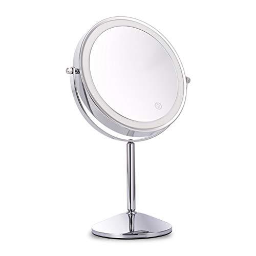 Miroir de maquillage de 8 pouces LED 360-grade rotatif interrupteur tactile double face miroir de stand pour le maquillage de rasage,7X