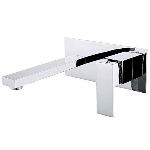 ZYDSN Grifo mezclador de lavabo de 2 agujeros oculto para baño montado en la pared, monomando para montaje en pared de baño, grifo mezclador de latón cromado 18,2 cm