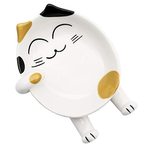 LetGoShop Spoon Rest for Kitchen, Ceramic Cute Cat Spoon Holder for Cooking, Counter, Stove Top, Utensil Holder, Coffee Spoon Rest, Kitchen Decor, Cute Novelty Gift for Cat Lover (Yellow)