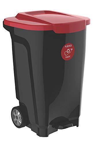 Lixeira Em Plastico T-force Preto E Vermelho 100 Litros Com Rodas Tramontina 92815/409