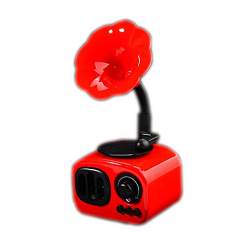 LHFLU-SP Altavoz Bluetooth Retro Estéreo inalámbrico Subwoofer Caja de música Altavoces de Madera con Radio FM de micrófono TF para teléfono,Rojo
