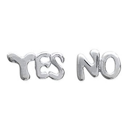 Pendientes'Yes''No' de plata 925 – Unisex