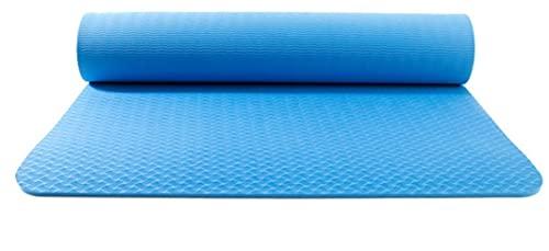 Esterilla de yoga de TPE ecológica antideslizante para gimnasio, ejercicios en casa, con bolsa bandolera, 183 x 61 x 0,6 cm (color azul)