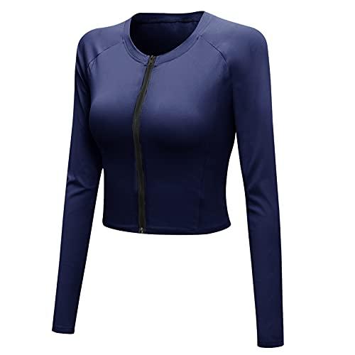 SEAUR Camiseta deportiva para mujer, de manga larga, con cremallera, para correr, con agujero para el pulgar, Azul 1, L