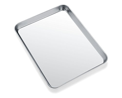 Small Baking Sheets, HKJ Chef Mini Baking Pans & Stainless Steel Cookie Sheets & Toaster Oven Tray Pans, Rectangle Size 10 x 8 x 1 inch & Non Toxic & Healthy,Superior Mirror & Easy Clean