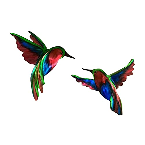 Metal Hummingbird Wall Art Decor Bathroom Art Iron Sculpture Outdoor Hanging Decoration for Home Bedroom Garden Patio Porch or Fence Decorative Novelty Gift, Set of 2, about 8 * 9 inches