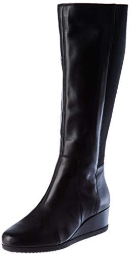 Geox Damen D ANYLLA Wedge I Knee High Boot, Black, 41 EU
