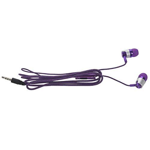 Kolaty H-169 3.5mm MP3 MP4 Subwoofer de cableado Cordon Trenzado, Auriculares universales de Musica con Control de Alambre de Trigo (Violeta)
