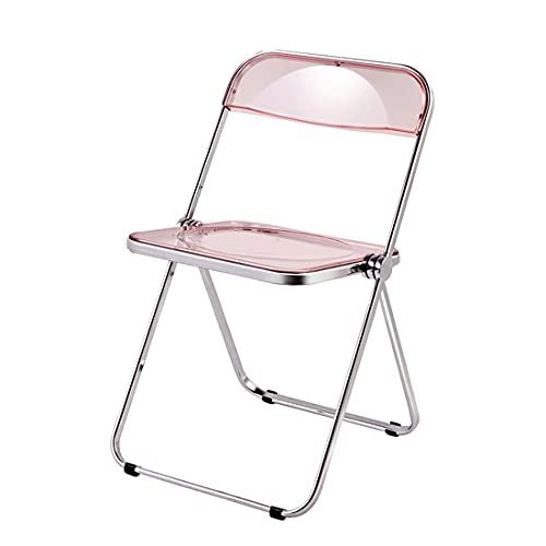 XLNB Klare Klappstuhl-acryl-stühle Mit Holz-Edelstahl, Moderne Kunststoffschalen-akzent-beistellstühle Für Die Küche, Lounge (2 Stück),Rosa