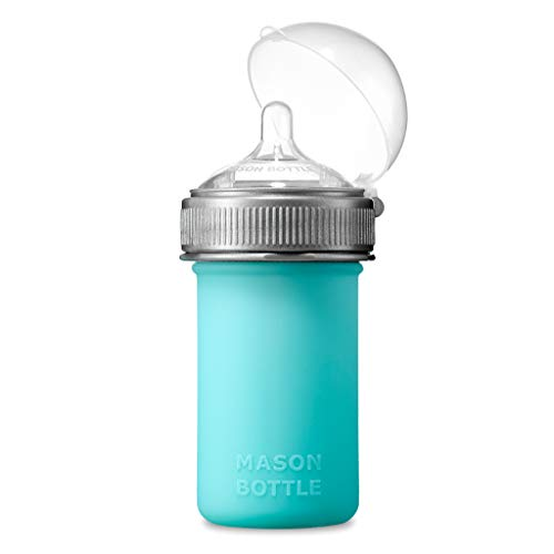 Mason Bottle Silicone Baby Bottle (8 oz, Teal)