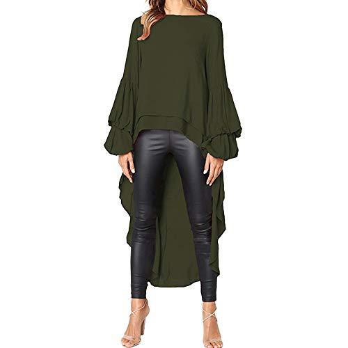 Fannyfuny Damen Langarm T-Shirt Elegant Chiffon Lange Bluse Frauen Rüschen Asymmetrisch Hemd Shirt Einfarbig Pullover Tops Party Blusen