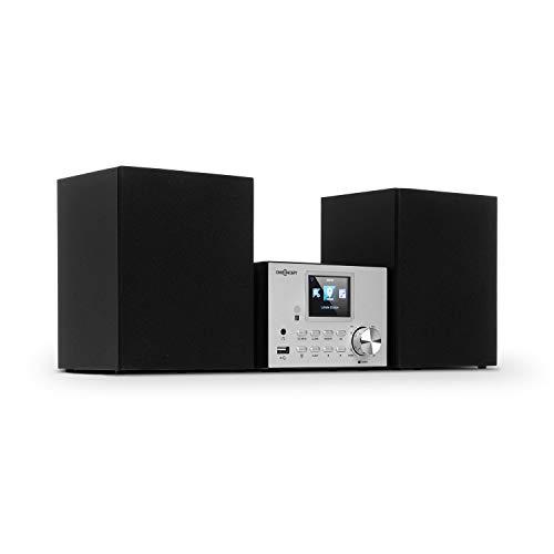 """Oneconcept Streamo Equipo estéreo con Radio por Internet - Conexión de Radio por WiFi, Dab/Dab+ y FM , 2 Altavoces de 10 W , Bluetooth ,USB, AUX-IN , 2,4"""" Pantalla , Plateado"""