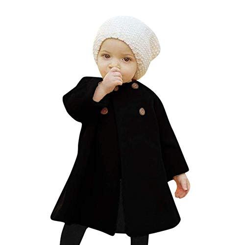 SWNONE Baby Coats 2018 Fall Winter Kid Baby Girl Cloak Button Jacket Clothes Baby Outwear Clothes (Black Coat, 18-24 m)