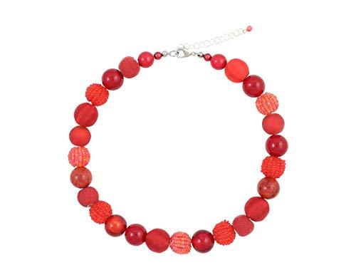 Feliss Kette Damen Halsketten für Frauen Rote Perlenkette ohne Anhänger 45 cm lang Schmuck Geschenk für Freundin Mutter Geburtstagsgeschenk Ideen Necklace Ketten für Sie Geschenkideen Damenkette