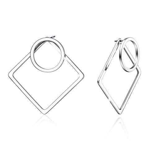 925 Sterling Silber Geometrische Ohr Jacke Ohrringe Kleinen Offenen Kreis und Quadrat Ohrstecker für Frauen, Vorne und Hinten 2 in 1