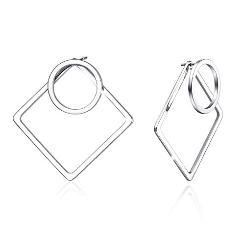 925 Sterling Silver Post Geometric Ear Jacket Earrings Small Open Circle and Square Stud Earrings for Women, Front and Back 2 in 1