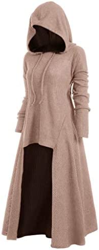 Women Hooded Sweatshirt Dress Long Sleeve Medieval Vintage Lace Up High Low Cloak Robe L Pink product image