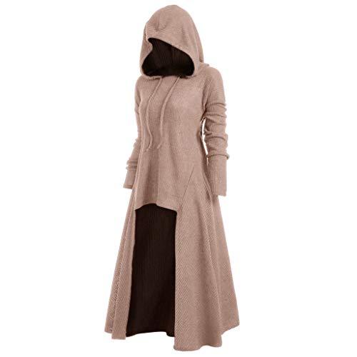 Damenmode Halloween Langarm-Kapuzenkleid,Gothic Klerider Bodenlanges Cosplay-Schöne Vintage Prinzessin Kleid Lang,Karnevalskostüme URIBAKY