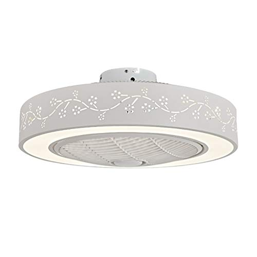 Ventilador de techo de Pandent de la lámpara, LED de control remoto regulable Luz Lámpara colgante ajustable Velocidad del ventilador de interior 22' acrílico blanco Pantalla de 3 velocidades, 3 color