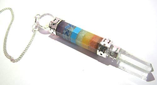 CrystalMiracle - Péndulo de cuarzo en forma de vara, para reiki, feng-shui, meditación