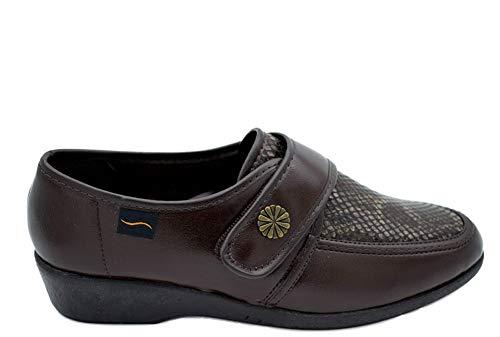 Zapato DOCTOR CUTILLAS Ancho Especial ORTOPÉDICO Licra Velcro MARRÓN (Marron, 37)