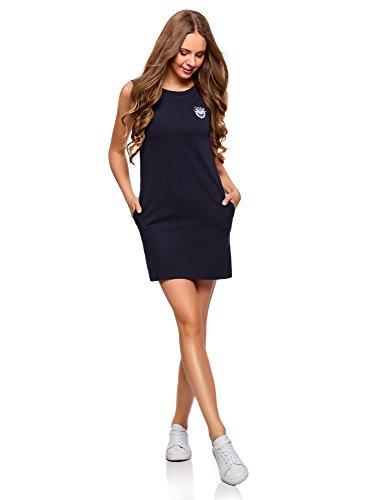 oodji Ultra Damen Gerades Pique-Kleid, Blau, DE 32 / EU 34 / XXS