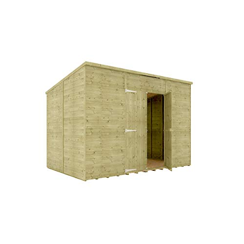 10 x 6 Pressure Treated Hobbyist Pent Shed Tongue & Groove Shiplap Cladding Construction Windowless Central Door OSB Floor Wooden Garden Shed 3.04m x 1.82m