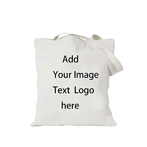 Personalized Tote Bag,Reusable Canvas Tote Bags Customized,Great idea for the beach, Shopping,Gym and Yoga, Travel