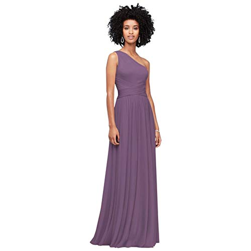David's Bridal One-Shoulder Mesh Bridesmaid Dress with Full Skirt Style F19932, Wisteria, 2