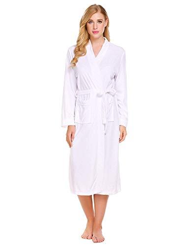 Adelina ochtendjas dames winter lange mouwen hals sauna badjas badjas V Robe huismantel Fashionable Completi met tas en blauw