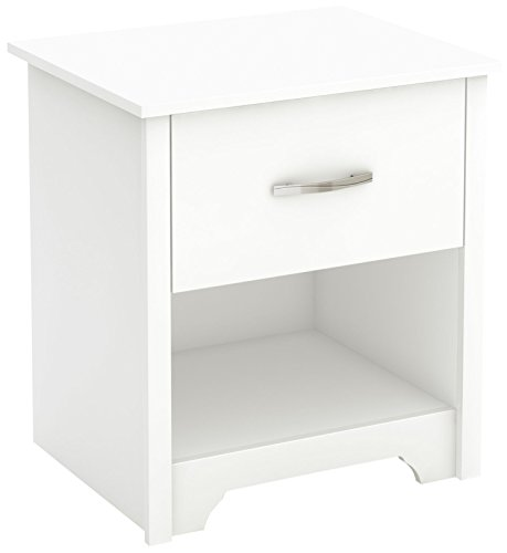 South Shore Furniture South Shore Fusion Nightstand, Pure White with Grooved Metal Handles