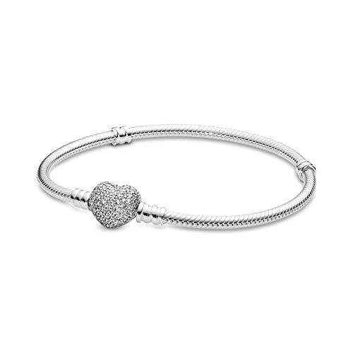 CHIY-GBC Pulsera de Cadena de Serpiente de corazón de Plata 925 para Mujer, Compatible con Abalorios Originales, Regalo de joyería de 17 cm