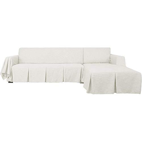 GYHH 2-teilige Schnittsofa-Abdeckung Waschbare L-förmige Sofabezüge Mit Rüschen Haustiere Schonbezüge Für Schnittsofa Haltbare Möbelschutz-Schonbezüge (White,2-Seat+Right Chaise)