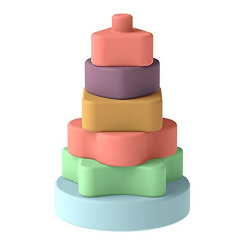 RG-FA Juego de apilamiento para bebés anillos de anidación de silicona suave apilador de círculos bloques de construcción de torre de mordedor juguetes para niños y niños pequeños