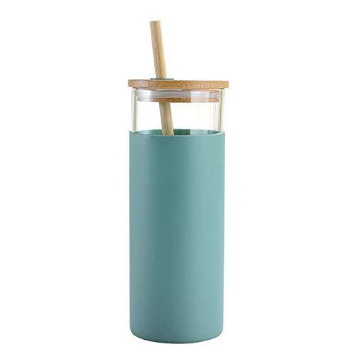 Hollewe Vaso De Vidrio con Pajita Y Juego De Tapa, 450ml Botella De Agua Paja Funda Protectora De Silicona Tapa De Bambú, 100 Vidrio De Borosilicato, Libre De BPA, Naranja/Verde/Azul/Rosa/Gris