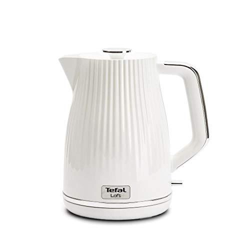 Tefal KO250830 - Hervidor de agua eléctrico (plástico, 1,7 l, 2400 W, filtro de cal extraíble, sin BPA), color blanco