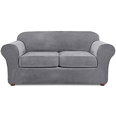 NORTHERN BROTHERS Loveseat Covers for 2 Cushion Couch Velvet 3 Piece Loveseat Slipcover (Light Gray)
