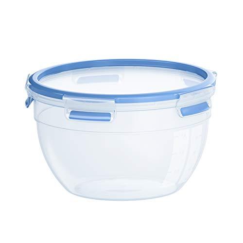 Emsa N1011400 Clip & Close vershouddoos, kunststof, transparant/blauw, rond