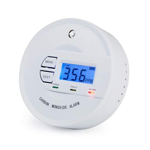 Scondaor CO Melder EN 50291 Zertifiziert, batteriebetrieben, 10 Jahres-Sensor, CO Alarmmelder mit Digitalanzeige
