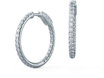Oro bianco 14K massiccio orecchini a cerchio per donna 1.56ct diamanti taglio rotondo solitario in vera Earing