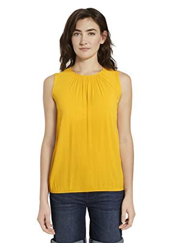TOM TAILOR Damen Blusen, Shirts & Hemden Blusen-Top mit elastischem Bund deep golden Yellow,36
