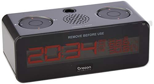 Oregon Scientific RRA320PNX radio reloj proyector, con radio FM, gran pantalla LCD con brillo ajustable, doble alarma, gris marengo