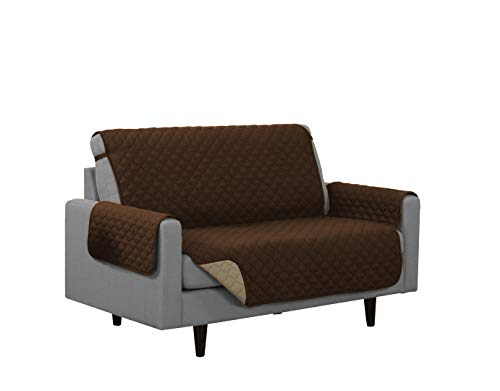 Linen Store Quilted Reversible Microfiber Pet Dog Couch Furniture Protector Cover (Loveseat, Brown/Mocha)