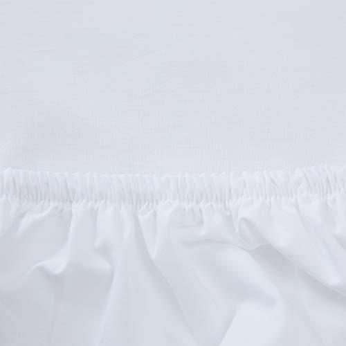 """URBANARA Spannbettlaken """"Perpignan"""" – 140cm x 200cm x 28cm, Weiß, 100% gekämmte Baumwolle – Bettlaken, Baumwoll-Laken, Perkal-Bettlaken, Betttuch, Haustuch"""
