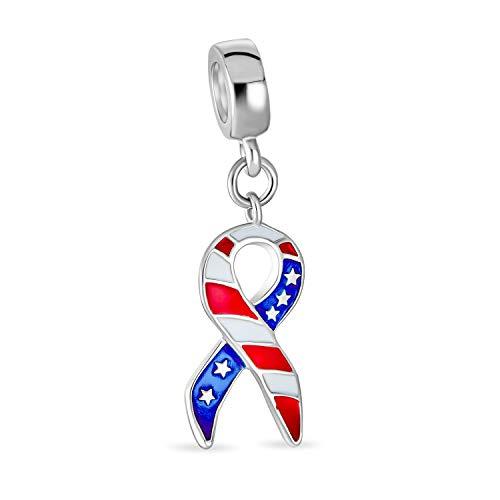 Rojo blanco azul americano patriota bandera de forma colgante encanto cuenta para las mujeres adolescentes esmalte .925 plata de ley se adapta pulsera europea