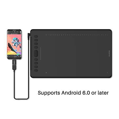 HUION Tableta gráfica de Dibujo INSPIROY H1161 con lápiz óptico sin batería de 8192 Niveles de presión y 10 Teclas de presión + 16 Teclas Suaves Compatible con Windows, Mac OS y Android OS