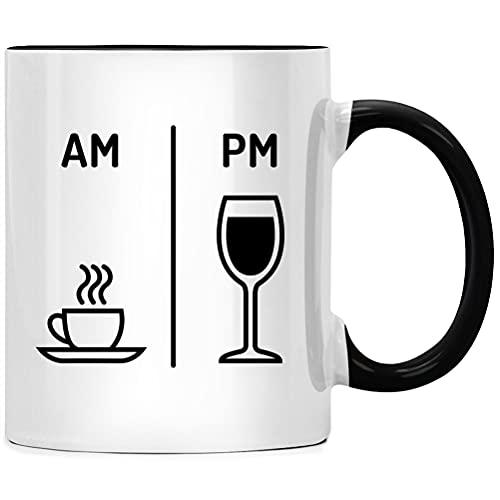 AM PM Kaffee Wein Tasse - Spruch Kaffeetasse, Büro Arbeit Chef Geschenk, Kaffeebecher Geschenkidee, Tassen mit Sprüchen für Kollegen, Abschied lustig