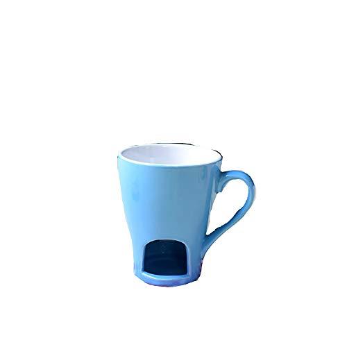 Mryishao Tazza di Acqua per Uso domesticoTazza Fonduta Cioccolato Tazza Ceramica con Candela Cucchiaio Tazza Polvere Blu
