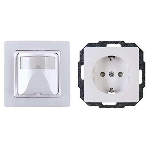Kopp 808102014 Bewegungsschalter Weiß & Schutzkontakt-Steckdose mit Berührungsschutz, arktis-weiss